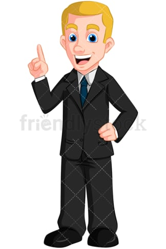 Business man talking making point - Image isolated on transparent background. PNG