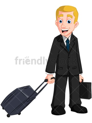Business man with travel bag - Image isolated on transparent background. PNG