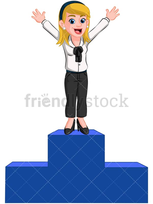 Business woman winner podium - Image isolated on transparent background. PNG