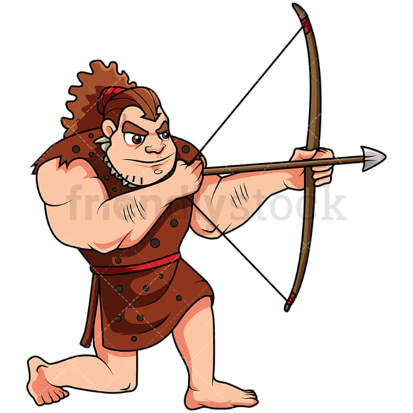 Caveman Hunting With A Bow - Image isolated on white background. Transparent PNG and vector (infinitely scalable) EPS