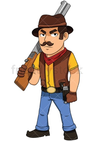 Cowboy carrying a shotgun on his shoulder - Image isolated on white background. Transparent PNG and vector (infinitely scalable) EPS