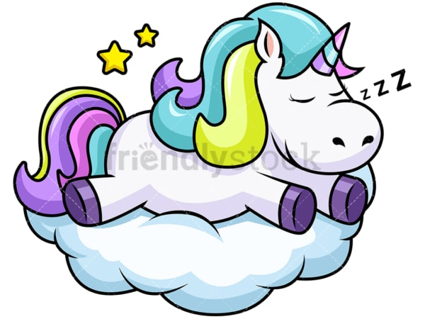 Cute unicorn sleeping on a cloud. PNG - JPG and vector EPS file formats (infinitely scalable). Image isolated on transparent background.