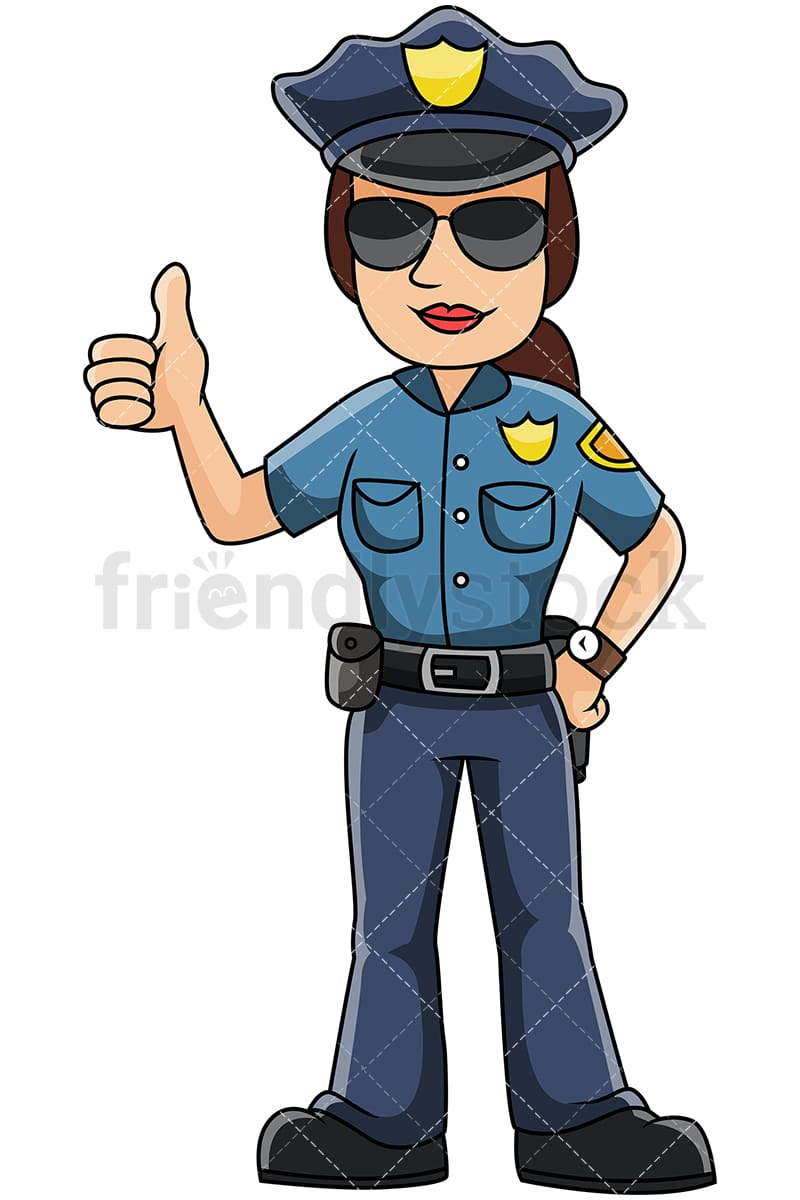 Female Police Officer Thumbs Up Vector Cartoon Clipart ...Police Woman Clipart