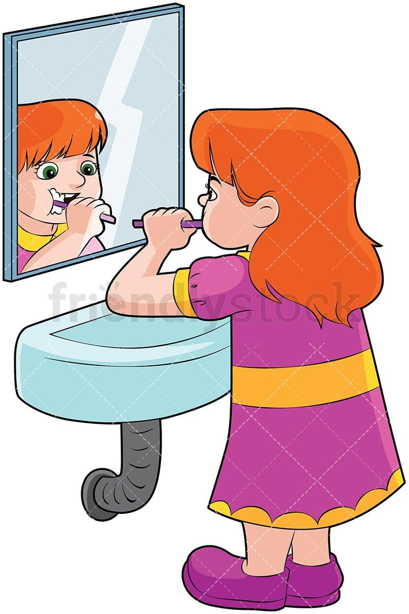 girl brushing teeth in front of a mirror vector cartoon