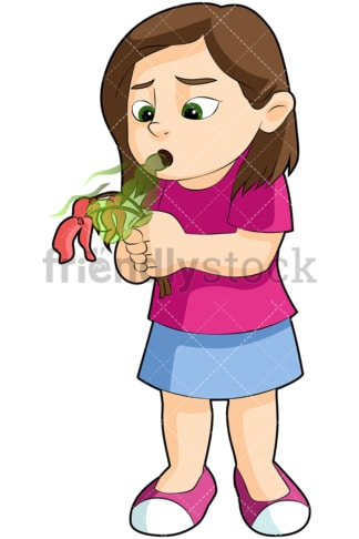 Girl killing flower with bad breath - Image isolated on transparent background. PNG