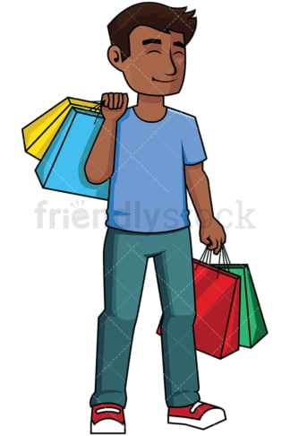 Happy black man satisfied after shopping - Image isolated on transparent background. PNG
