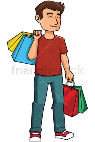 Happy man satisfied after shopping - Image isolated on transparent background. PNG