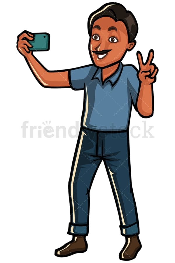Indian man taking selfie on mobile phone - Image isolated on white background. Transparent PNG and vector (infinitely scalable) EPS