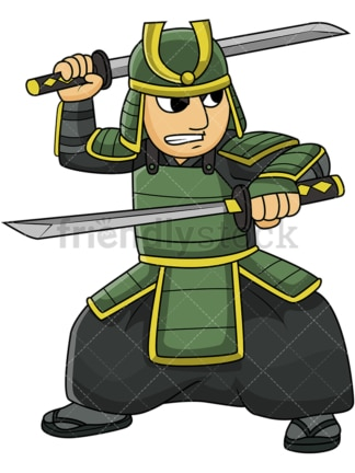 Japanese bushi warrior two swords. PNG - JPG and vector EPS file formats (infinitely scalable). Image isolated on transparent background.