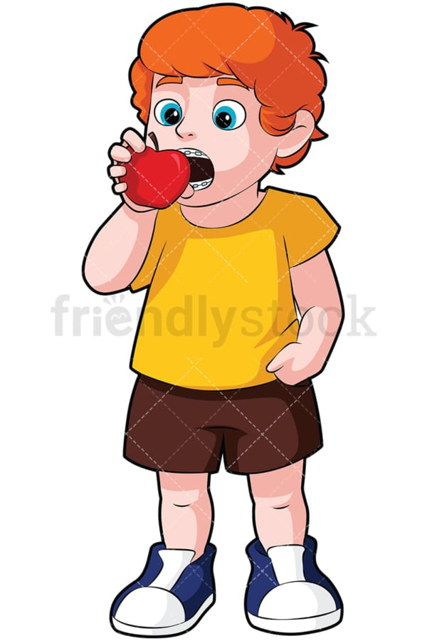 Little boy with braces eating apple - Image isolated on transparent background. PNG