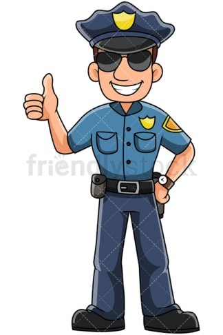 Male police officer thumbs up - Image isolated on transparent background. PNG