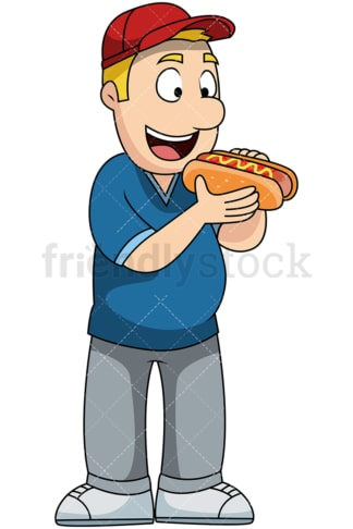 Man eating hot dog - Image isolated on transparent background. PNG