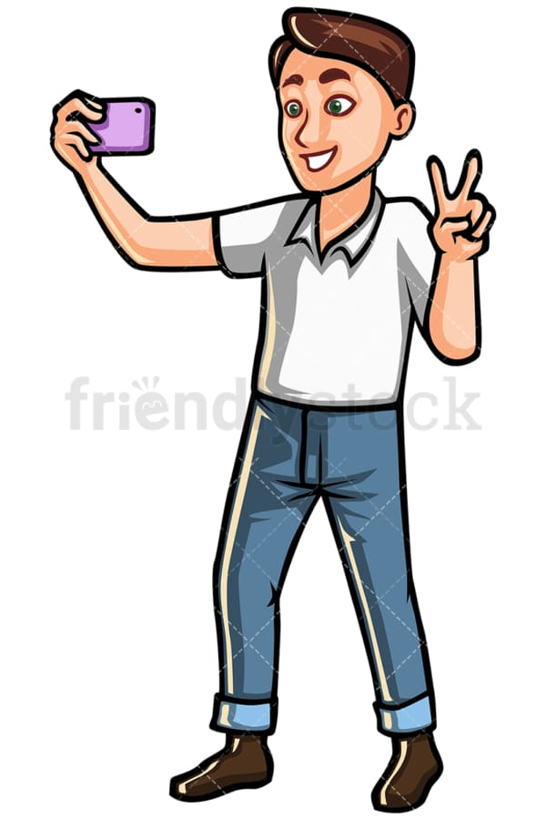 Man taking selfie with a mobile phone - Image isolated on white background. Transparent PNG and vector (infinitely scalable) EPS