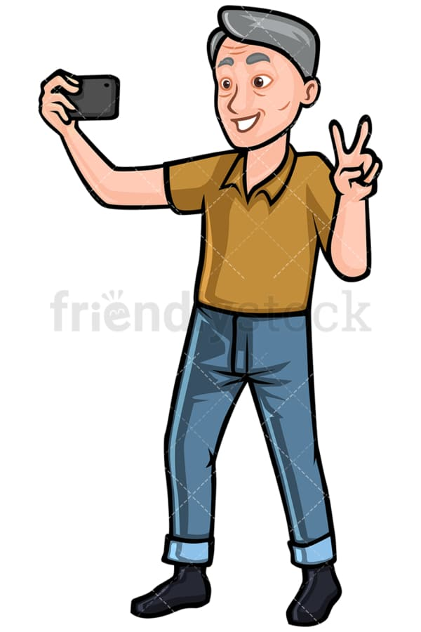 Mature man taking selfie on mobile phone - Image isolated on white background. Transparent PNG and vector (infinitely scalable) EPS, PDF.