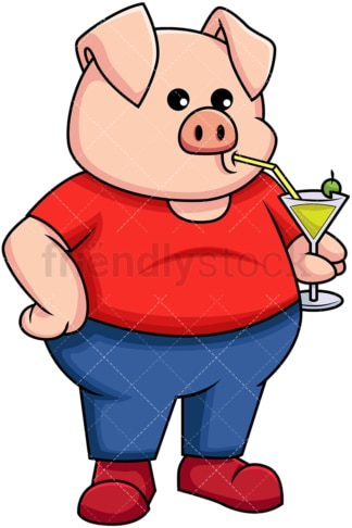 Pig holding a cold drink - Image isolated on transparent background. PNG