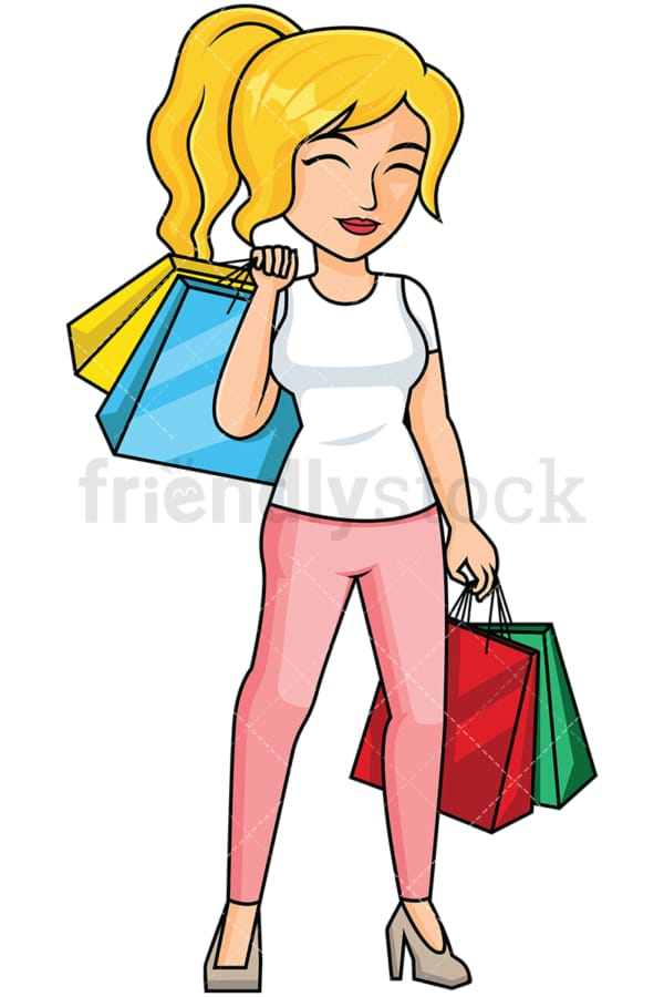 Woman after shopping feeling satisfied - Image isolated on transparent background. PNG