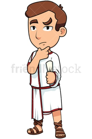 Young roman senator thinking - Image isolated on transparent background. PNG