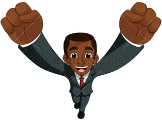 Black business man cheering top view - Image isolated on transparent background. PNG