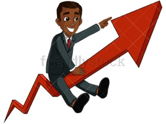 Black business man riding arrow - Image isolated on transparent background. PNG
