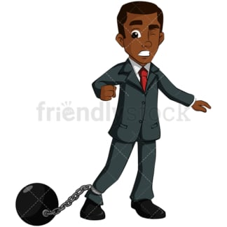 Black business man wearing ball and chain - Image isolated on transparent background. PNG