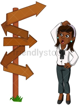 Black business woman at crossroad - Image isolated on transparent background. PNG