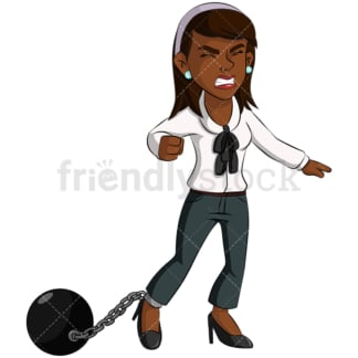 Black business woman ball and chain - Image isolated on transparent background. PNG