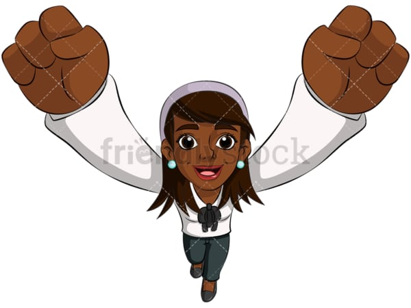 Black business woman cheering - Image isolated on transparent background. PNG