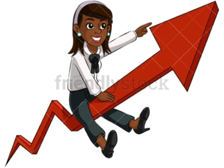 Black business woman riding arrow - Image isolated on transparent background. PNG