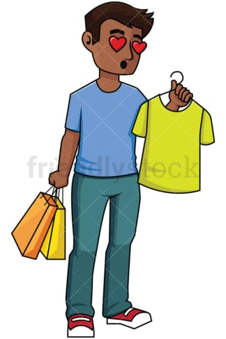 Black man shopping for t-shirts - Image isolated on transparent background. PNG
