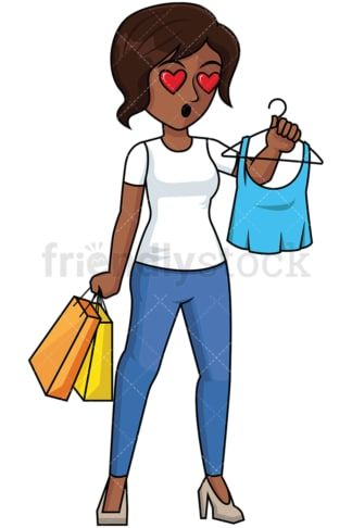 Black woman heart eyes while shopping - Image isolated on transparent background. PNG