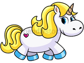 Blonde unicorn and heart tattoo. PNG - JPG and vector EPS file formats (infinitely scalable). Image isolated on transparent background.