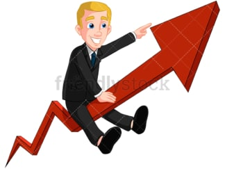 Business man on growth arrow - Image isolated on transparent background. PNG