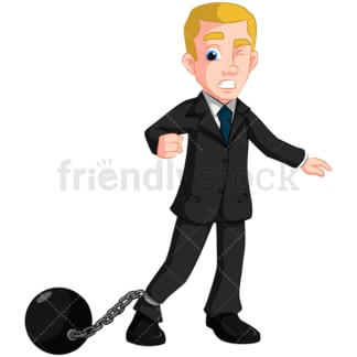 Business man wearing ball and chain - Image isolated on transparent background. PNG