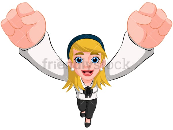 Business woman cheering top view - Image isolated on transparent background. PNG