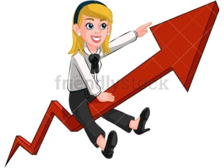 Business woman on growth arrow - Image isolated on transparent background. PNG