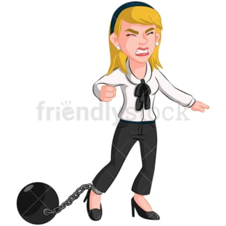 Business woman wearing ball and chain - Image isolated on transparent background. PNG