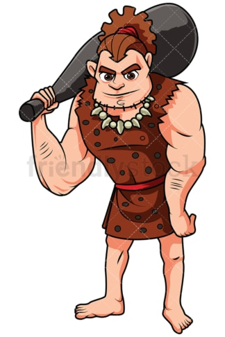 Caveman Carrying A Large Bat On His Shoulders - Image isolated on white background. Transparent PNG and vector (infinitely scalable) EPS