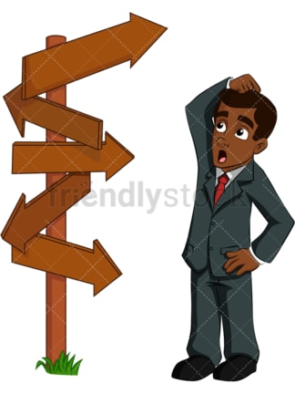 Confused black business man crossroad - Image isolated on transparent background. PNG