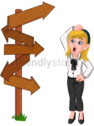 Confused business woman at crossroad - Image isolated on transparent background. PNG