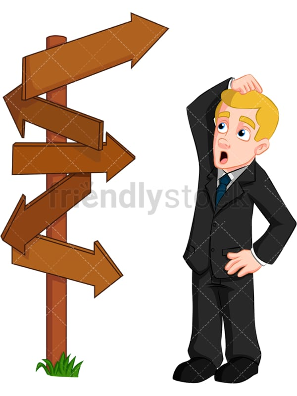 Confused businessman direction signs - Image isolated on transparent background. PNG