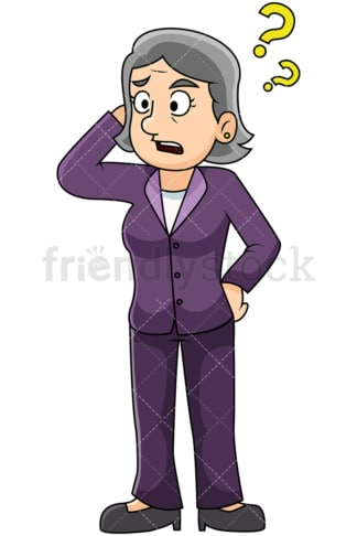 Confused mature woman scratching head - Image isolated on transparent background. PNG