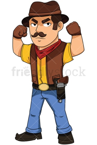 Cowboy flexing his arms - Image isolated on white background. Transparent PNG and vector (infinitely scalable) EPS