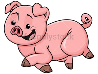 Cute pig running - Image isolated on transparent background. PNG