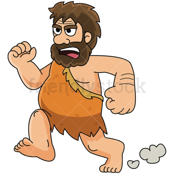 Frightened caveman running fast - Image isolated on white background. Transparent PNG and vector (infinitely scalable) EPS