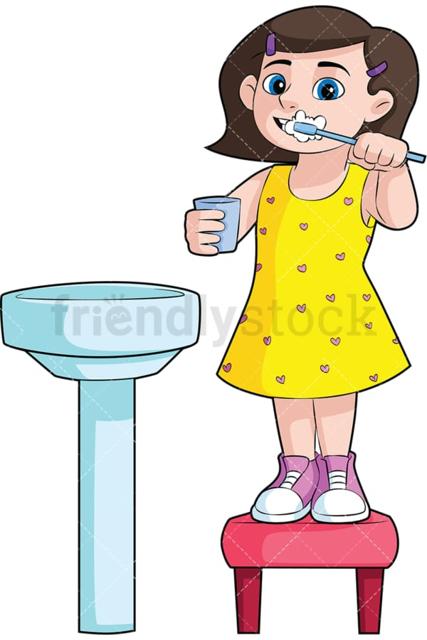 Girl brushing her teeth in the sink - Image isolated on transparent background. PNG
