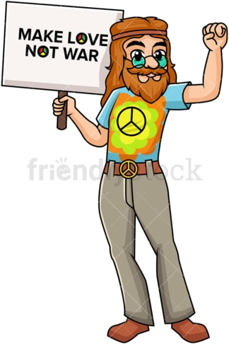 Hippie holding make love not war sign. PNG - JPG and vector EPS file formats (infinitely scalable). Image isolated on transparent background.