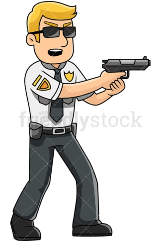 Male police officer holding pistol - Image isolated on transparent background. PNG