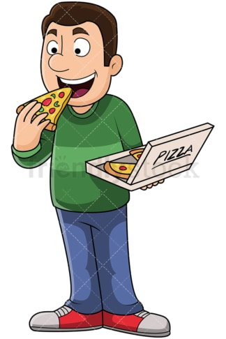 Man eating pizza slice - Image isolated on transparent background. PNG