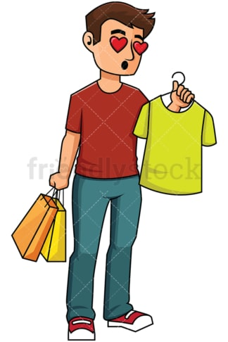 Man in love with t-shirt while shopping - Image isolated on transparent background. PNG