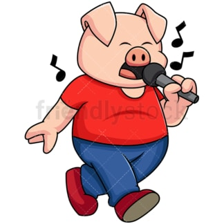 Pig singing karaoke - Image isolated on transparent background. PNG